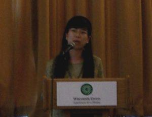 Speaker at podium, Spinal Cord Research Symposium 2007