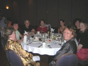 People gather at for dinner at tables, Spinal Cord Research Symposium 2007