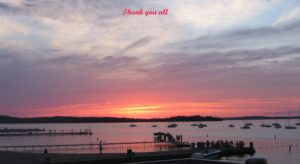 Sunset over Lake Mendota. A caption reads Thank you all in red text.