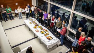 Aerial photo of group at Holiday Party 2019